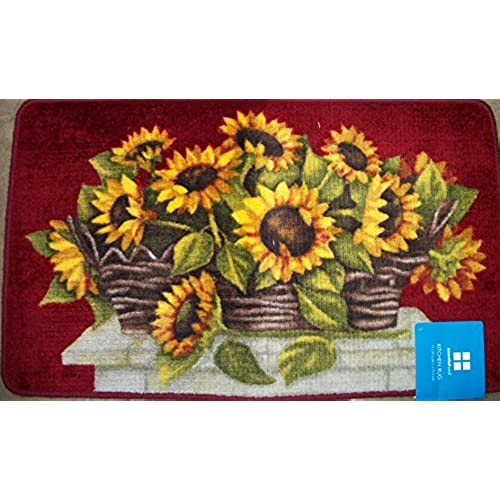 Lovely Deep Colored Sunflower Kitchen Rug