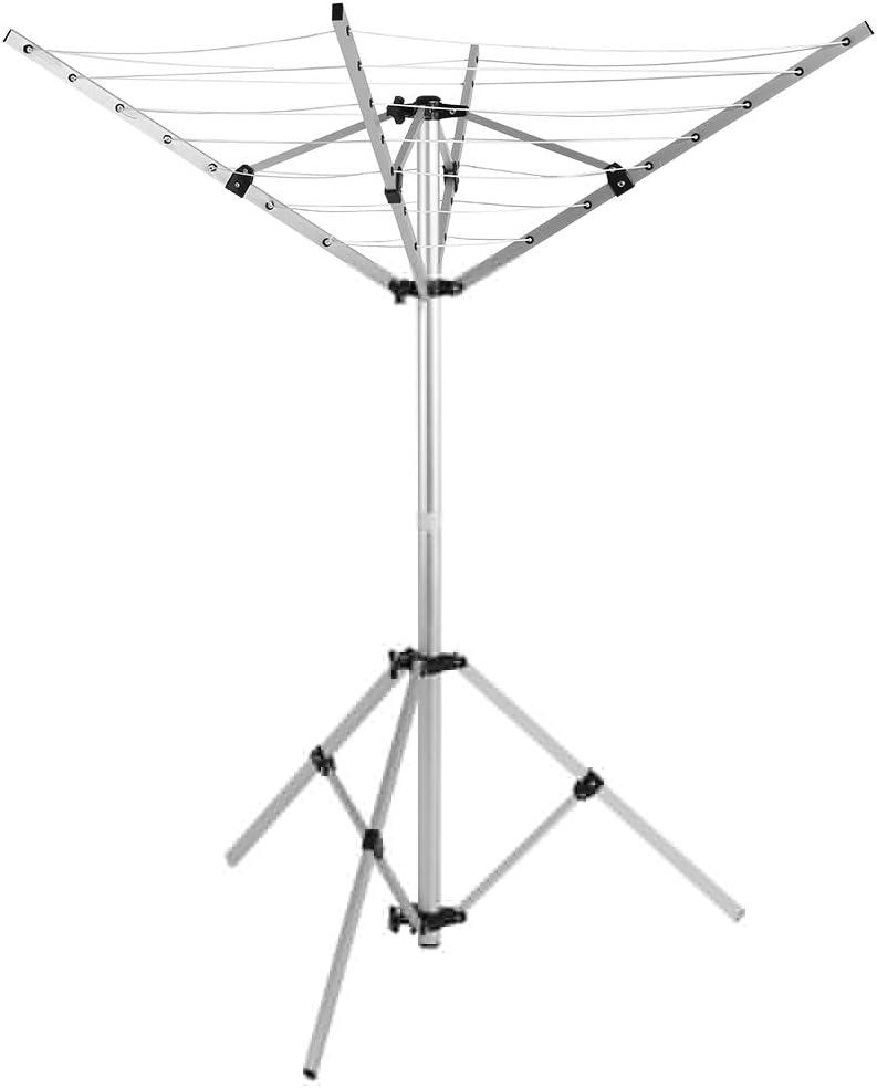EBTOOLS Tendederos Tipo Paraguas para Acampar al Aire Libre L/ínea de Ropa de Camping Port/átil Rotatorio 4 Brazos y 3 Patas Percha
