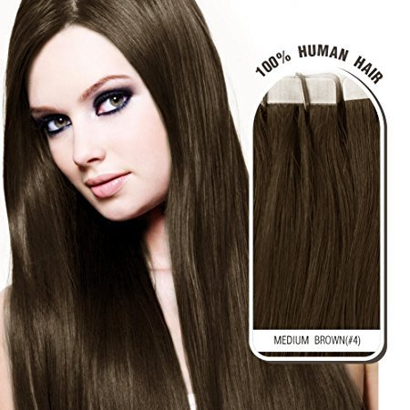 "Melodylocks 18"" Tape in Remy Human Hair Extensions 20 Pieces(pcs), 40g, Straight #4 Medium Brown"