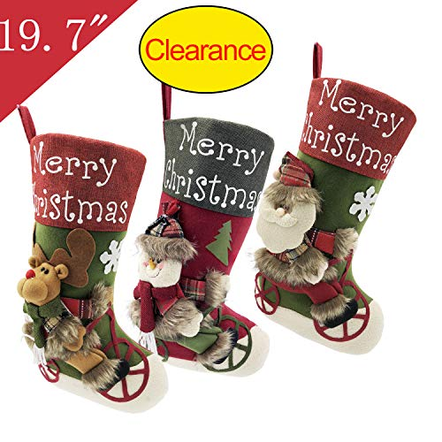 Felt Christmas Stockings for Family Sets of 3, 19.7 inch Large Plush Character 3D Reindeer Santa Claus Snowman Snowflake Design Hanging Bags, Socks - Holiday Kids Gift for Indoor Home