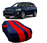 MotRoX Car Body Cover For BMW X1 with Side Mirror Pocket (Red & Blue)