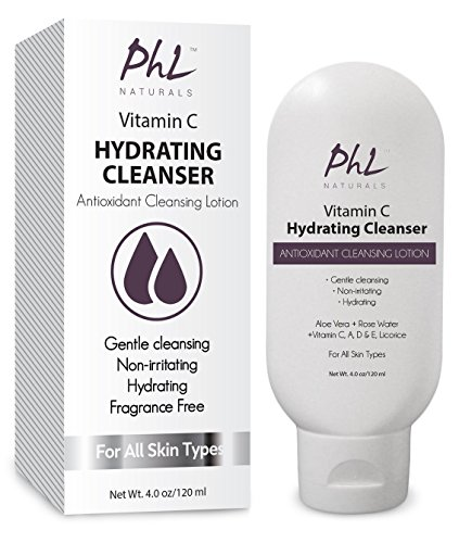 PHL Naturals vitamine C hydratant Facial nettoyant Lotion antioxydante avec l'eau de Rose Aloe Vera et de réglisse est doux et non parfumé pour tous Types de peau (4 oz/120 ml)