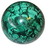 Satin Crystals Malachite Ball 2.1'' Collectible Green Sphere Enchanting Trance Meditation Stone Africa C04