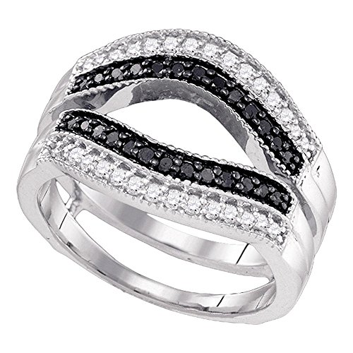 Jewels By Lux 10kt White Gold Womens Round Black Color Enhanced Diamond Ring Guard Wrap Solitaire Enhancer 1/2 Cttw Ring Size 7 (Solitaire Diamond Ring Wraps)