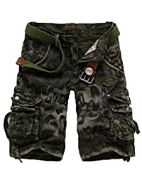 WSLCN Mens Summer Outdoor Camouflage Cargo Shorts Bermuda Cotton (Without Belt)