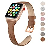 SWEES Leather Band Compatible Apple Watch iWatch 38mm 40mm, Slim Thin Dressy Elegant Genuine Leather Strap Compatible iWatch Series 4 Series 3 Series 2 Series 1 Sport Edition Women, Brown