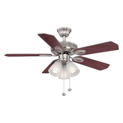 Hampton Bay Glendale 42 in. Brushed Nickel Ceiling Fan – Reversible Blades