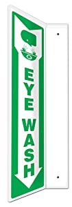 """Accuform PSP437 Projection Sign 90D, Legend""""Eye WASH (Arrow)"""" with Graphic, 18"""" x 4"""" Panel, 0.10"""" Thick High-Impact Plastic, Pre-Drilled Mounting Holes, Green on White"""