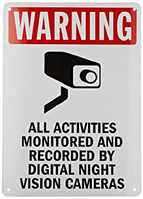 """SmartSign Security Sign, Legend """"Warning: Monitored by Night Vision Cameras"""", Black/Red on White"""