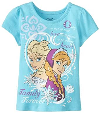 Disney Little Girls' Frozen Family Forever T-Shirt, Ocean Wind, 6X