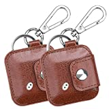 [2 Pack] Fintie Tile Mate/Tile Pro Series Case with Keychain Carabiner, Anti-scratch Vegan Leather Protective Cover for Tile Mate/Tile Sport/Style Item Tracker Phone Finder, Brown
