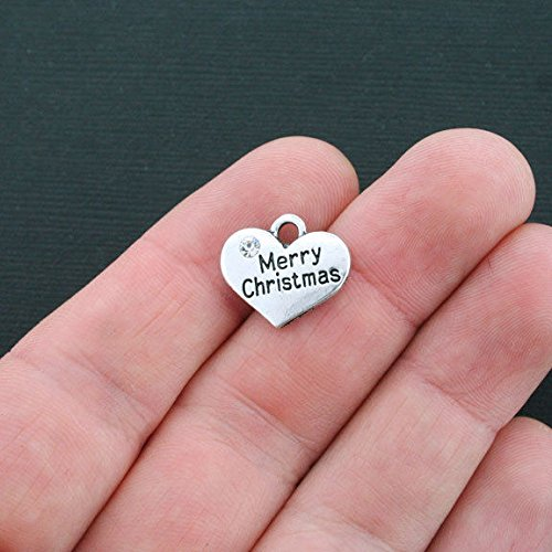 Merry Christmas Heart - 4 Merry Christmas Heart Charms Antique Silver Tone 2 Sided - SC4381 Jewelry Making Supply Pendant Bracelet DIY Crafting by Wholesale Charms
