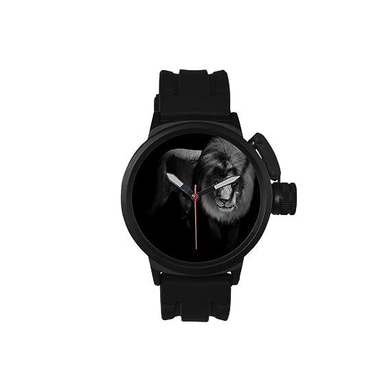 Reloj de cuarzo analógico para hombre con diseño de león en blanco y negro, para
