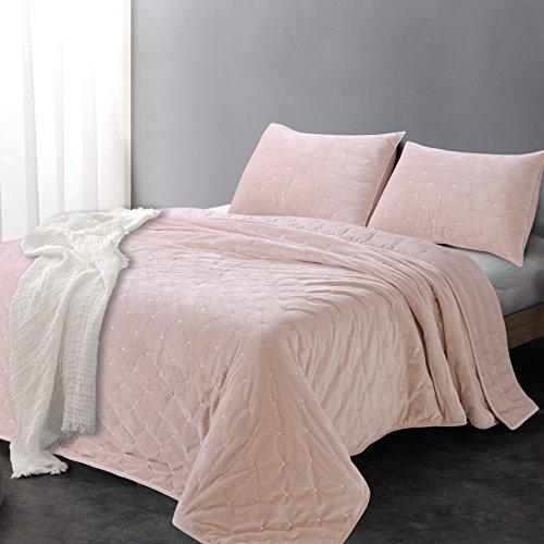 Sleeping Partners AQTKEM004 Luxe Embroidered Dot Microfiber Velvet 3 Piece Quilt Set, King, Blush Pink (Size Velvet King Quilts)