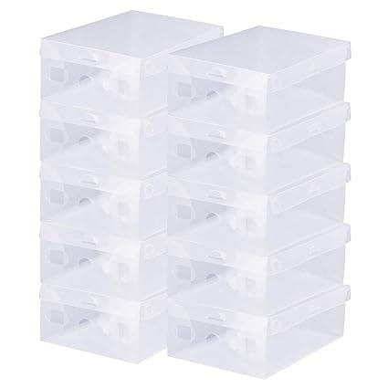 BUZIFU Caja de Almacenamiento Transparente para Zapatos de 28 x 18 x 9,5 cm