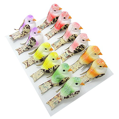 Artificial Colorful Shining Mini Birds Kids Floral Craft Photograph Party Wedding DIY Festival Decoration Gift Set of 12 (Christmas Trees Huge Artificial)