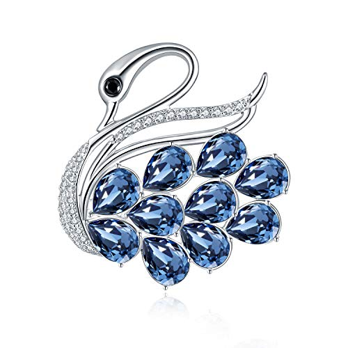 (RAINBOW BOX Swan Brooches for Women Fashion Blue, Rhinestone with Swarovski Crystal Brooch Pins for Birthday Valentine Day Gifts)