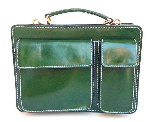 Superflybags Borsa Uomo Piccola Porta Tablet Vera Pelle Made in Italy modello Classic M 28x20x9 verde