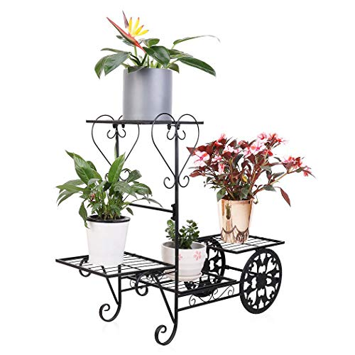 4 Tier Metal Plant Shelf Flower Cart Rack Garden Bonsai Pot Stand Holder with Display Shelves Load up to 77lbs, Black ()