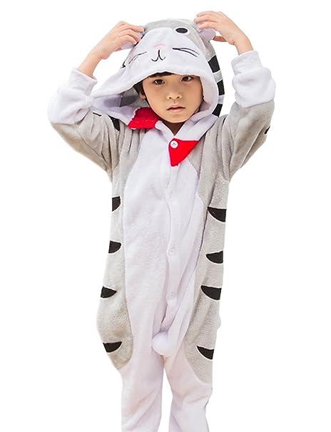 MissFox Kigurumi Pijamas Unisexo Niños Traje Disfraz Niños Animal Pyjamas Gato 105