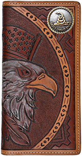 Flag Long Wallet (Custom American Spirit Don't Tread On Me hand-tooled leather wallet)