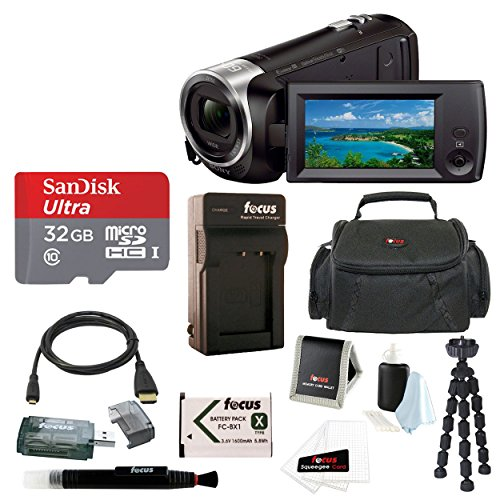 Focus Camera Sony HD Video Recording HDRCX440 Handycam Camcorder w/32GB Deluxe Accessory Bundle