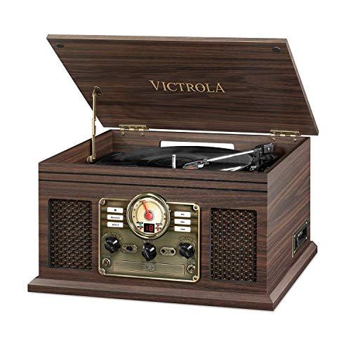 Victrola Nostalgic Classic Wood 6-in-1 Bluetooth Turntable Entertainment Center, Espresso (Renewed) ()