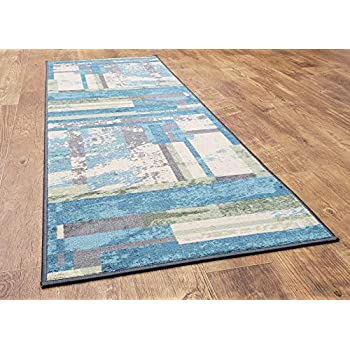 Levoa Collection, 2ft x 6 ft Non Skid (Non Slip Rubber Backing) Hallway Kitchen Bathroom Entryway Rug Runner, Turquoise Blue/Mint Green/Cream