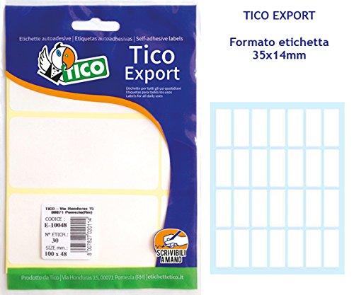 Tico E-3514A Bolsa de 280 etiquetas blanca escribible a mano 35x14mm 10hojas