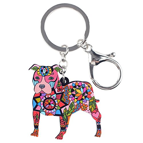 Bonsny Acrylic Pit Bull Dog Key Chains Keyrings for Women Gifts Teens Kids Car Purse Handbag Charm Jewelry (Red)