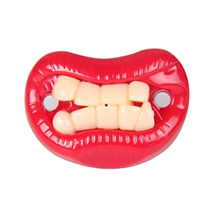 vitihipsy Divertido Bigote de bebé chupetes Suave Silicona Lindo Chupete diseño con Labios de Beso Divertidos Dientes recién Nacidos Caballero ...