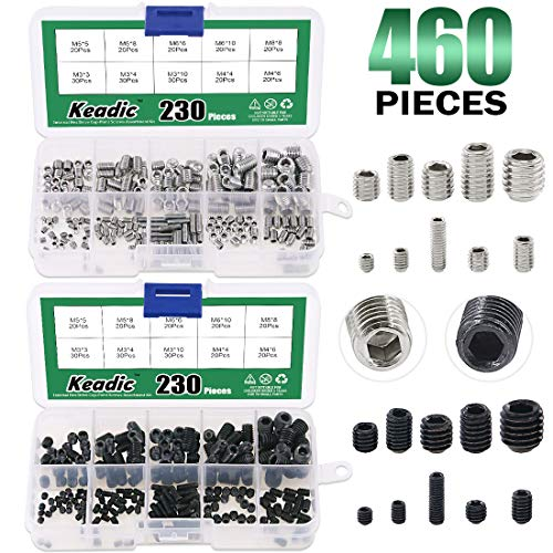 - Keadic 460Pcs 2 Types Internal Hex Drive Cup-Point Screws Assortment Kit with Plastic Case, 304 Stainless Steel and 12.9 Class Alloy Steel, 10 Metric Sizes M3/4/5/6/8