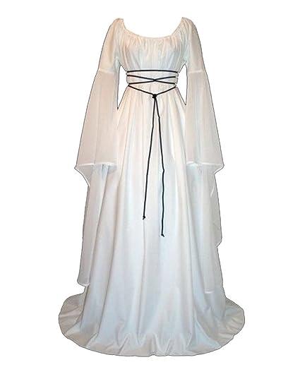 GladiolusA Disfraz Medieval De Mujer Vestido Largo Traje Medieval Cosplay Manga Larga Blanco S