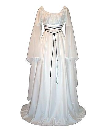 Médiévale Longue Déguisement Gladiolusa Robe Costume Femme Renaissance Manche oCxBerd