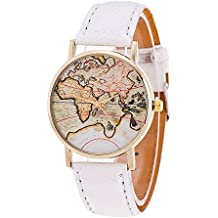 Retro World Map Wrist Watch - Personality Vintage World Map Pattern Watches Roman Numerals Scale Leather Strap Watches, Red