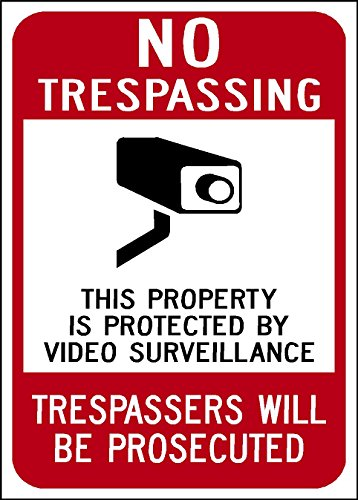 Highway Traffic Supply Aluminum Sign, Legend No Trespassing - Video Surveillance with Graphic, 10 high x 7 wide, Black/Red on White