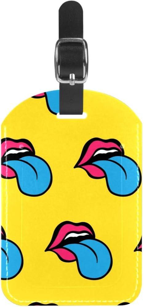 TIZORAX - Etiquetas para Equipaje con Lengua Azul y Labios Rojos para Maleta de Viaje, 1 Paquete