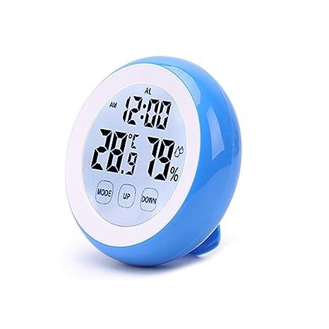 skgardeniamy Temperatura Humedad Meter Digital Termómetro Humedad Higrómetro Reloj Despertador Salón Cafe Decor, plástico,