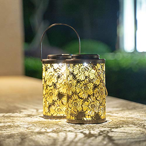 Solar Lanterns Outdoor Hanging - Garden Solar Lights Metal Outdoor Lantern 2 Pack Decorative Garden Table Lights Solar Powered SUNWIND 2 Pack for Porch, Patio, Home (Chrysanthemum)