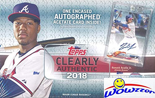 (2018 Topps Clearly Authentic Baseball Factory Sealed HOBBY Box with Encased ON-CARD AUTOGRAPH ACETATE Card! Look for SIGNED Cards of Shohei Ohtani, Derek Jeter, Mike Trout,Sandy Koufax & More! WOWZZER)
