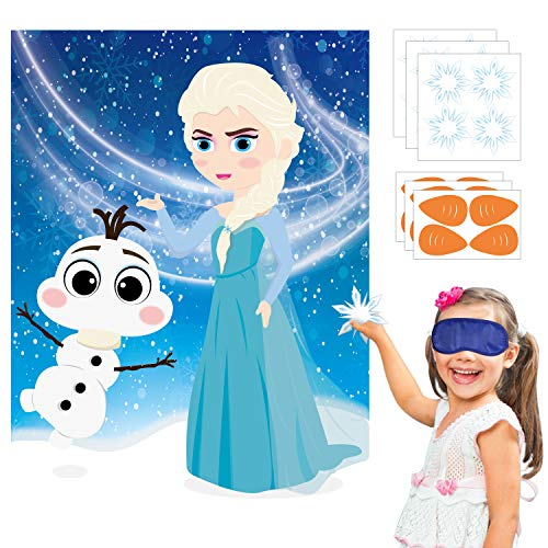 Princess Birthday Party Theme (Ticiaga 24pcs Frozen Kids Party Stickers Game, Pin The Nose and Magic Ice Snowflake On Large Elsa and Olaf Poster Good for Big Winter Wonderland Theme Birthday Party, Princess Theme)