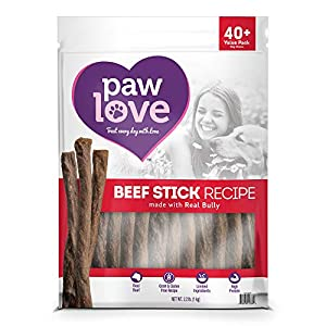 PawLove Dog Treats Quick and Crunchy Beef Stick Recipe Dog Snacks – Light and Airy Chew – Rich in Delicious Beef Flavor – Healthy Grain Free, High Protein Chew – Small and Large Dog Sizes
