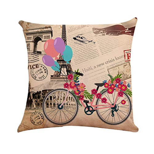 Littay Bicycle Pattern Series Family Car Sofa Upholstery Linen Pillowcase 17.72