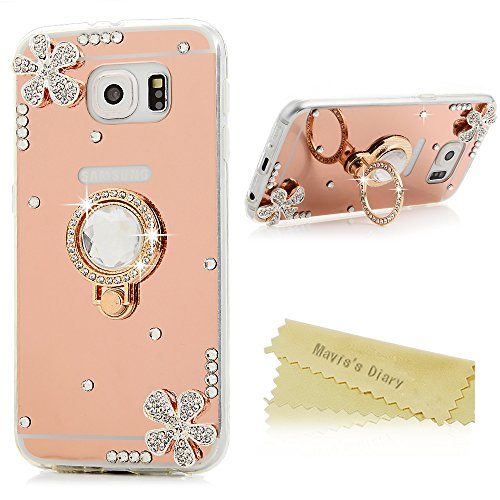 Galaxy S6 Case – 3D Handmade Special Pink Mirror Design Cover with Shiny Glitter Diamonds Gems Flowers 360 Rotating Rose Ring Kickstand Luxury Soft TP…