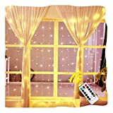 Ollny Window Curtain Light 192 LEDs Icicle Fairy String Christmas Lights for Bedroom Wedding Garden Patio Wall Outdoor Decoration Low Voltage Ul List with Remote Plug in 6.6ft x 6.6ft(Warm White)