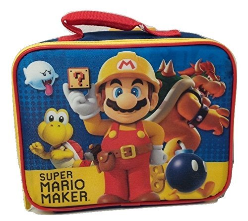 Nickelodeon Super Mario Maker Pre School Boys Insulated Lunch Bag Box Elementary Backpack (Big Stick Super Plush Throw)