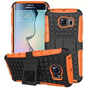 Kujian™-Heavy Duty Rugged Armor Case with Stand For Galaxy S6 Edge,Stylish Dual Layer Armor Silicone+Hard Shell Hybrid Shock armor cover case for Galaxy S6 Edge(Orange)