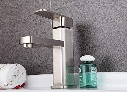 CHENBIN-BB バスルームのシンクは、スロット付き浴室の洗面台のシンクホットコールドタップミキサー流域の真鍮シンクミキサータップブラシホット&コールド流域の蛇口ウォッシュ手洗い洗面スクエア蛇口単穴シングルハンドルをタップ