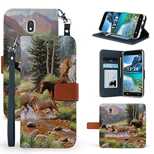 BC Infolio-D Wallet Case Compatible with Samsung Galaxy J3 (2018) J337 (J3V 3rd Gen, Star, Achieve, Express Prime 3) - Synthetic PU Leather Magnetic Flip Cover Case and Atom Cloth - Wild Horse Herd from Bemz Depot
