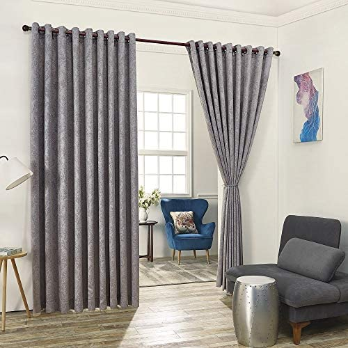 Warm Home Designs 2 of 108 Width X 120 Length Wall to Wall Light Gray Embossed Room Divider Curtains with 2 Tie-Backs. Total Width is 216 Inches 18 feet . Length 10 Feet. EV Grey Wall 120